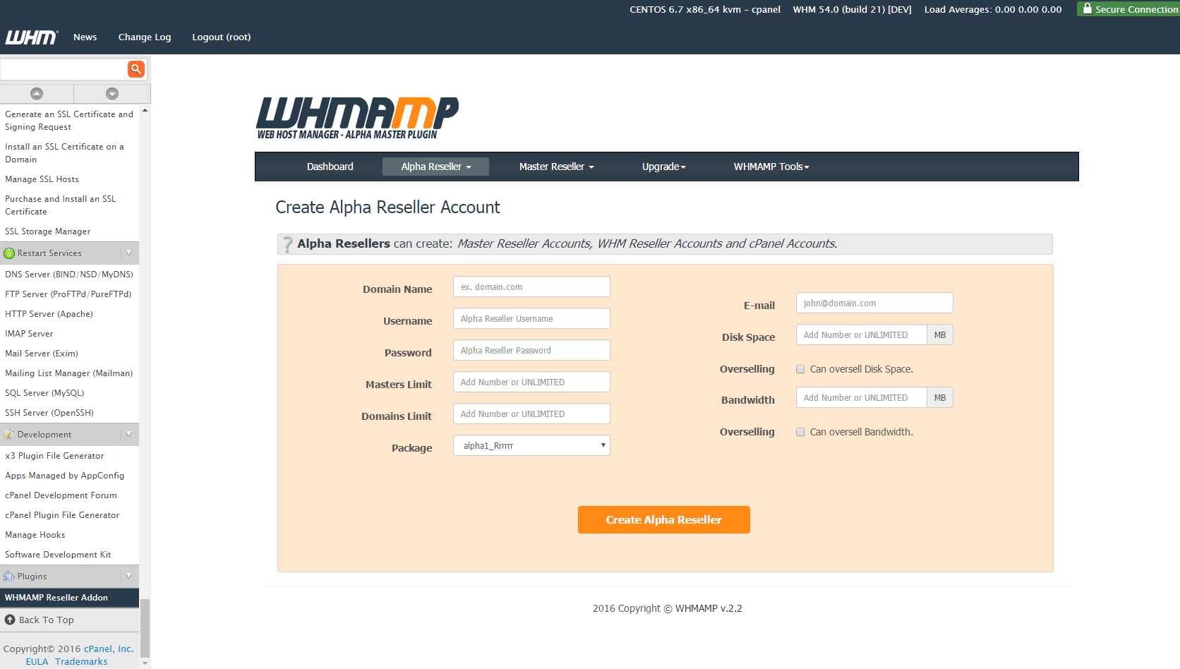Create Alpha Reseller